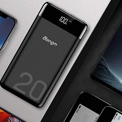 atongm 20000mAh Portable Double USB Port Li-Polymer External Battery Power Bank with Digital Display for Mobile Phones (Black) Image 5