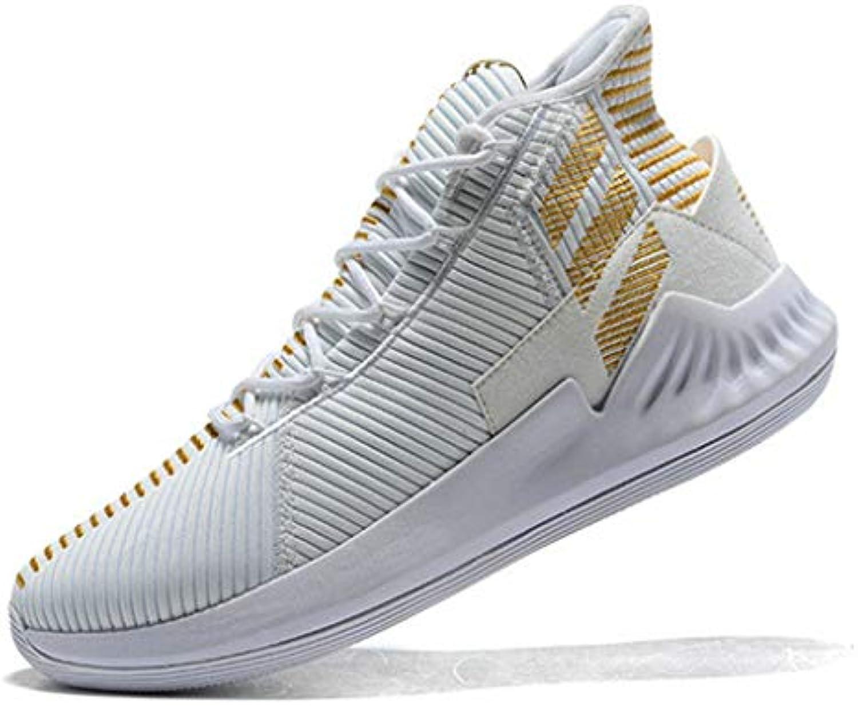 D Rose 9 White Golden Zapatos de Baloncesto para Hombre -