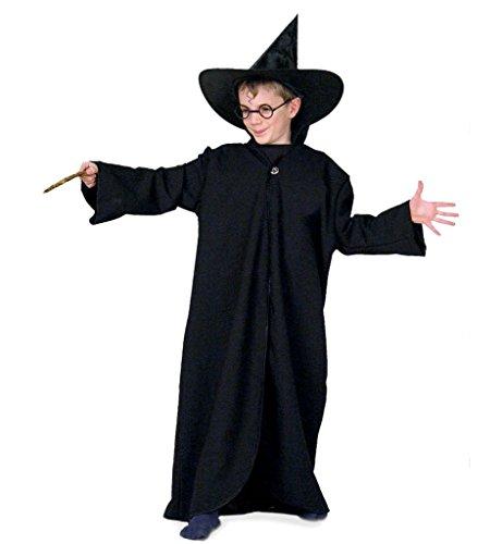 KarnevalsTeufel Kinderkostüm Zauberermantel schwarz Zauberschüler Umhang Magier Gr 128-140, 152-164 (152-164) (Mardi Gras Kostüm Geschichte)