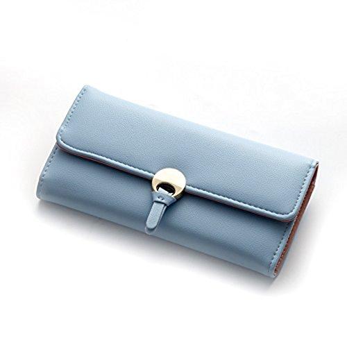 Lorna Imported Women Designer Wallet Black/Brown/Blue/Purple (Sky Blue)