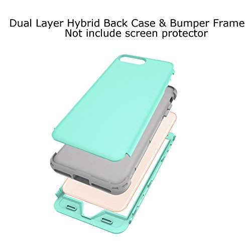 iPhone X Case, Dual Layer Case Soundmae Heavy Duty Protective Silicone Plastic Cover Rugged Case Full Body Protection Shockproof Impact Resistant Defender Case for Apple iPhone X 2017 Release, Blue Mint