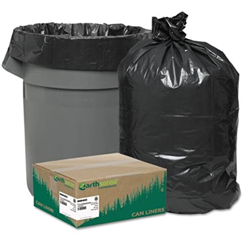 Recycled Can Liners, 40-45 gal, 1.25 mil, 40 x 46, Black, 100/Carton, Sold as 1 Carton