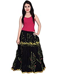 Decot Women's Cotton Ethnic Long Skirt (Black)