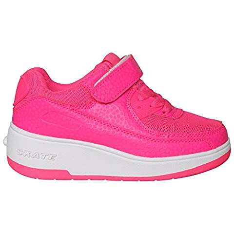 NEW BOYS GIRLS KIDS RETRACTABLE WHEEL ROLLER SKATE TRAINER SNEAKER SHOES SIZE EU 28-38