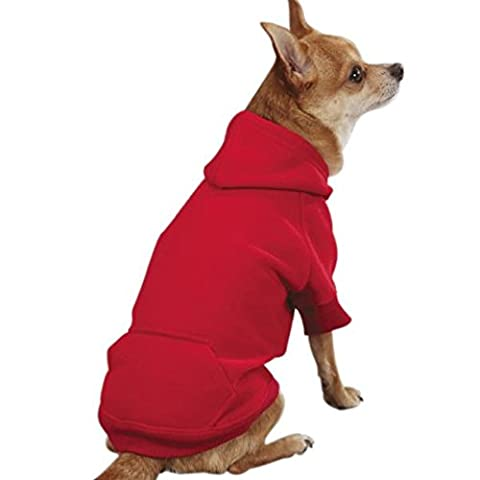Casual Canine Cotton Basic Dog Hoodie, Medium, 16-Inch, Red