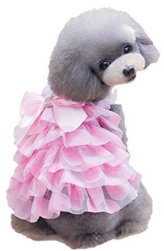 LLYU Haustier-Mädchen-Hund oder Katze gekräuseltes gelbes Girly Prinzessin-Kostüm-Kostüm-Ausrüstungs-kleiner Hund kleidet Kleidung (Farbe : Pink, größe : - Girly Mädchen Kostüm