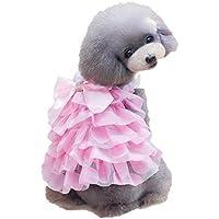 LLYU Pet Girl Perro o Gato con Volantes Amarillo Princesa Femenina Disfraz Traje Traje pequeño Perro Ropa (Color : Pink, Tamaño : S)