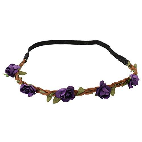 Phenovo Bandeau de Fleurs Elastique Bohème Accessoire pour Eté Plage Mariage Festival - Violet