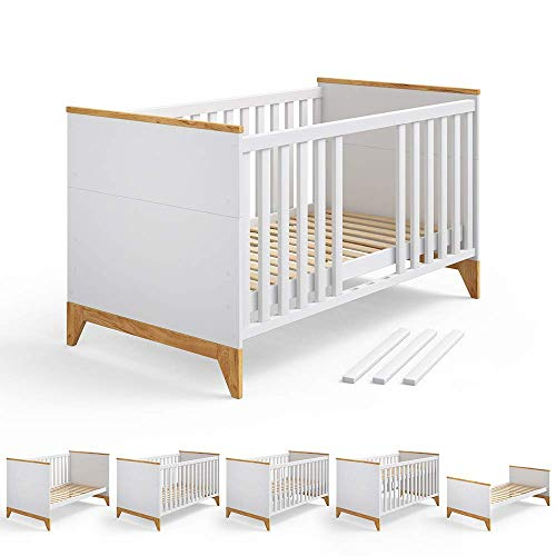 Babybett Malia Kinderbett Umbaubett Jugendbett Bett für Kinder Kleinkinder und Babys 140x70cm (, Kleinkind, Kind, Bett)