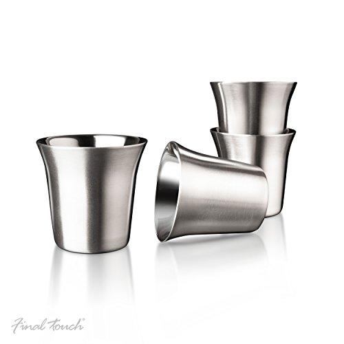 Final Touch Brushed Stainless Steel Espresso Cups Edelstahl Espressotassen 74ML isolierte Kaffee Shots CAT8012 (Americana Waschen)
