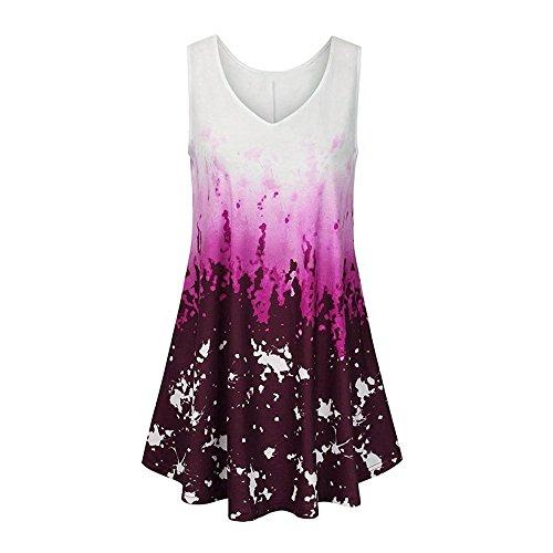 ESAILQ Damen Sommer Kurzarm T-Shirt V-Ausschnitt mit Schnürung Vorne Oberteil Tops Bluse Shirt(L,Rosa)