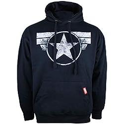 Marvel Captain America-Cap Logo Capucha, Azul Navy, XX-Large para Hombre