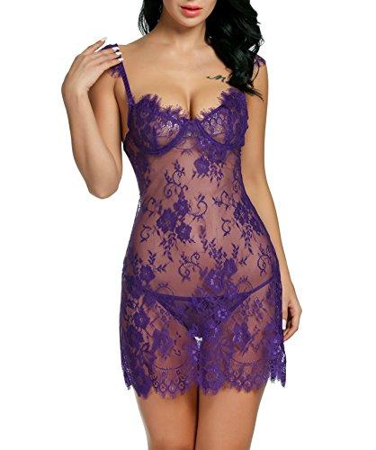 Avidlove Damen Spitze Vorne Offene Gehöhlte Babydoll Nachtkleid mit G-String A Violett