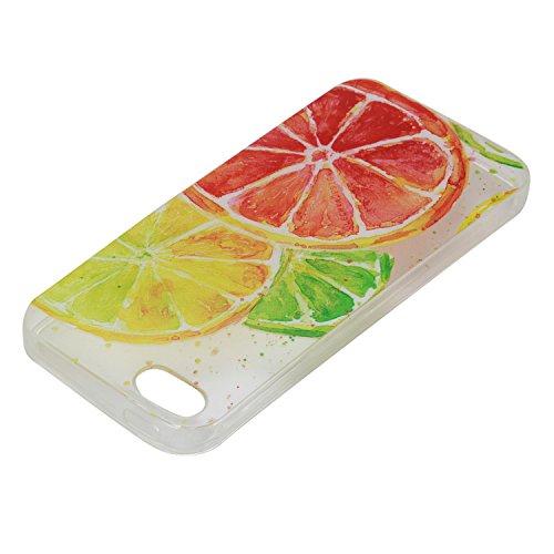 Apple iphone SE Hülle,iphone 5S Silikon TPU Gel Case,Ekakashop Ultra dünn Slim Kreativ Design Durchsichtig Transparent Crystal Klar Flexible Gel Case Schutzhülle Defender Bumper Tasche Hüllen für Appl Zitrone