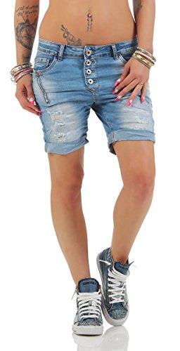 MOZZAAR Damen Jeans Boyfriend Bermudas Hose Haremstyle Denim Shorts Hotpants 11152-blau