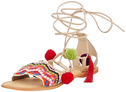VERO MODA Damen VMLIA Leather Sandal Römersandalen, Mehrfarbig (Curds & Whey), 41 EU