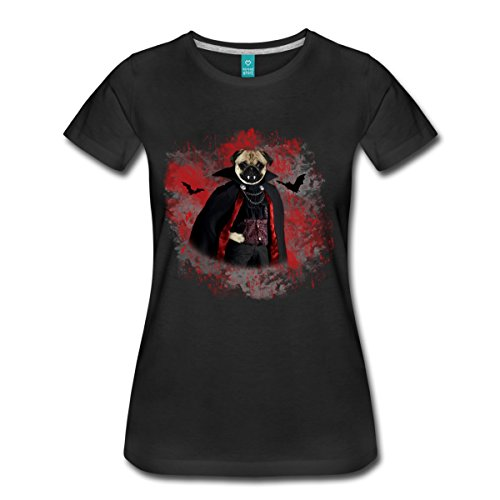 n Mops als Vampir mit Umhang Frauen T-Shirt, L, Schwarz (Mops Shirt Kostüm)