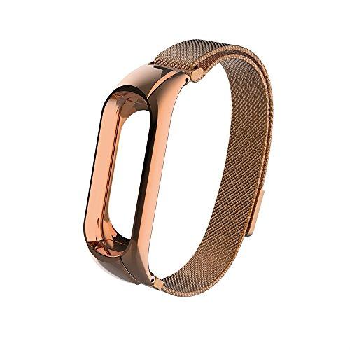 DEESEE(TM) Milanaise-Uhrenarmband aus Edelstahl für Xiaomi Mi Band 3 Light 55cm x 72cm rose gold