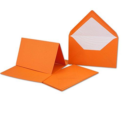 50 Sets // großes Kartenpaket mit 50 Faltkarten & 50 Umschlägen DIN B6 - Orange // GERIPPT!