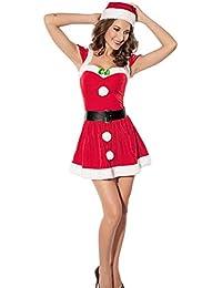 Mujeres de Papá Noel Navidad Disfraz Cosplay Outfit de Noche Vestido de Manga Corta Set (