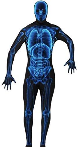 Zentai Röntgen Skelett Kostüm -Ganzkörperanzug, schwarz blau, (Morphsuit Skelett)