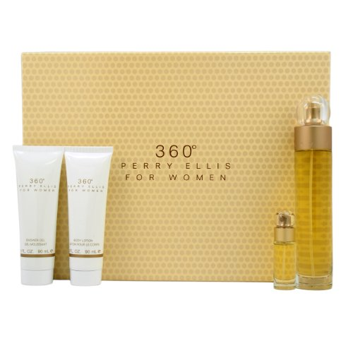 Gift Set 360 4pcs (100 ml Eau de Toilette Spray + Mini Spray + 200 ml body lotion + 200 ml Gel) Women (Frauen Geschenksets)