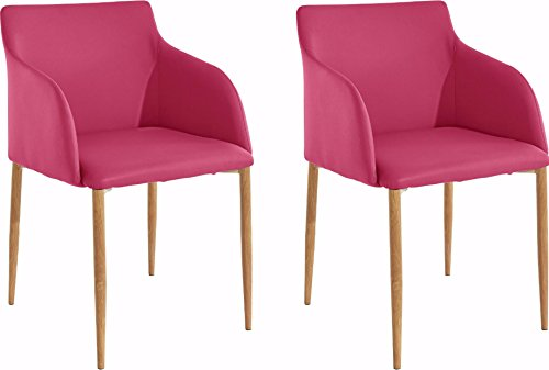 Loft24 NONI 2X Stuhl-Set Polsterstuhl Esszimmerstuhl Loungesessel Wartestuhl Besucherstuhl Kunstleder Skandinavisch Modern (Pink)