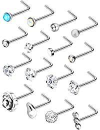 Stainless Steel Nose Stud Set Steel Nose Ring Rose Ball Labret Body Piercing Jewelry for Party Wear or Clothes Matching, 20 G