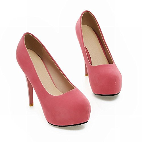 Mee Shoes Damen Stiletto inner Plateau Nubuck Pumps Pink