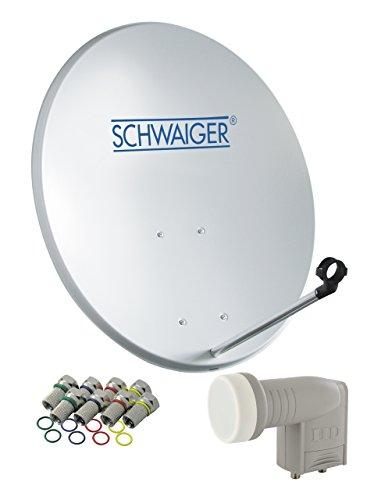 SCHWAIGER -470- Sat Anlage, Satellitenschüssel mit Twin LNB (digital) & 8 F-Steckern 7 mm, Sat Antenne aus Stahl, Hellgrau, 55 x 62 cm