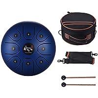 Muslady Stahlzungen Trommel Hand Pan Trommel 8 Zoll Kompakte Größe 8 Ton C Taste Perkussion Instrument mit Schlagzeug Schlägel Tragetasche Blau