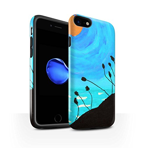 STUFF4 Glanz Harten Stoßfest Hülle / Case für Apple iPhone 8 / Gelb Muster / Sonnenuntergang Ölgemälde Kollektion Hellblau