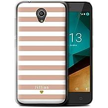 Personnalisé Rayures/Rayé Coutume Coque Gel/TPU pour Vodafone Smart Prime 7 / Coeur Rose Nu Design / Initiales/Nom/Texte Etui/Housse/Case