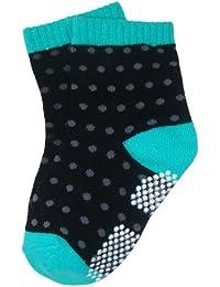 BOMIO | ABS Socken in farbenfrohem Design Gepunktet (Schwarz/Blau) | Antirutsch Baby-Söckchen aus hautfreundlichem Material | Stoppersocken | Hervorragende Passform