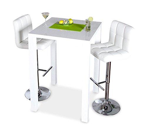levandeo Bar-Tisch Tresen Küchentisch Weiß Hochglanz Stehtisch Bartresen Esstisch Ablage Küche 105x80x80cm - 3