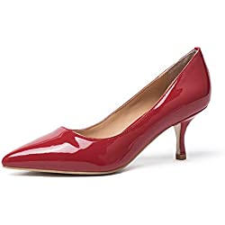 Mujer Zapatos Dekitten Aguja Tacón basicos Cuero Punta Bajo Medio Pumps Shoes Para Fiesta Oficina Boda(38,Patente Rojo)