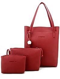 Premium Tassel Detail Tote Bag With Clutch 3pcs - B077R7T97S