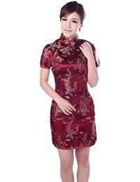 JTC Femme Robe Courte Chinois Cheongsam Motif de Paon et Dragon en Brocart-rouge sombre
