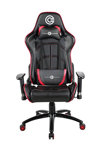 CIRCLE Gaming CH75 Moulded Foam Chair 4D ARM Rest Having PU PVC Cover with Adjustable Backrest, 90-180Degree ( Red/Black, CG CH75 REVOLVING CHAIR)