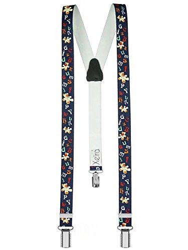 (Hochwertige Hosenträger für Kinder von Xeira© - Made in Germany/Baumeister/Uni Farben/Police/Dinosaurier/Space Runner/Hündchen (Normale Größe (one Size), Bär Buchstaben - Dunkel Blau))