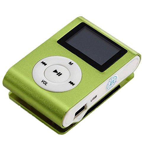Amlaiworld Mini MP3-Player LCD-Bildschirm Unterstützung 32 GB Micro SD TF-Karte sport lässig USB Musik player Urlaub Freizeit Mode Fitness Elektronisch geräte mit Clip Tragbare Legierung Lautsprecher (Grün)
