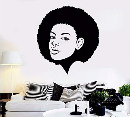 Lvabc 42X46 Cm Schwarze Dame Wandtattoos Schönheit Afro Frisur Wandaufkleber Vinyl Sexy Frauen Haar Kunstwandgemälde Für Gilr Schlafzimmer Dekoration