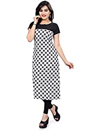 Glance Designs Women's Crepe Straight Cut Digital Printed Kurti