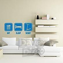 EAT SLEEP SCOOT, push kick air scooter,extreme sports, kids, boys, girls bedroom, playroom, wall art sticker decal, MEDIUM BLUE, 57x23 cm