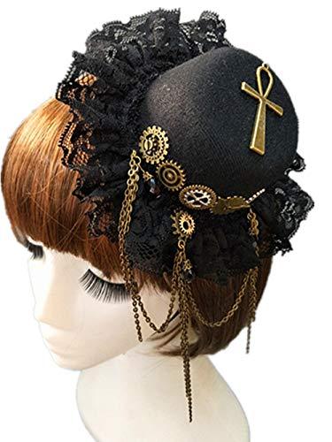 TanQiang Handgefertigter Vintage Gothic Steampunk Gear Lolita Cosplay Mini Top Hut Retro Kopfschmuck für Frauen Haarschmuck a (Mini-top-hut-frauen)