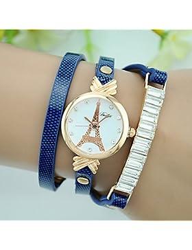 Schöne Uhren, Damen Armband-Uhr Quartz Leder Band Eiffelturm Schwarz Weiß Rot Braun Grün Gelb Marke