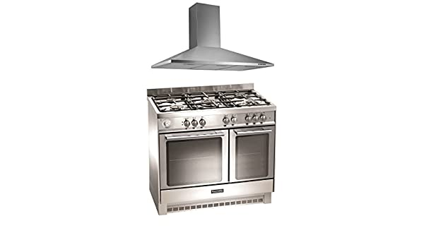 baumatic bcg925ss stainless steel 90cm gas range cooker u0026 cooker hood pack amazoncouk large appliances