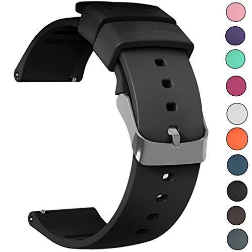 JIELIELE Cinturino 22mm, Braccialetto Morbido Sportivo di Ricambio in Silicone per Samsung Gear S3 Frontier (22mm, Black)