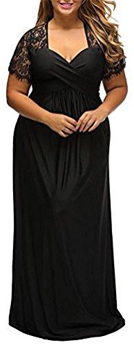 Ghope Damen Maxi Kleid Plus Size V-Ausschnitt Elegantes Spitzekleid Sommerkleid Partykleid Grö. 44-54 (44/ Asian 3XL, Stil 5)
