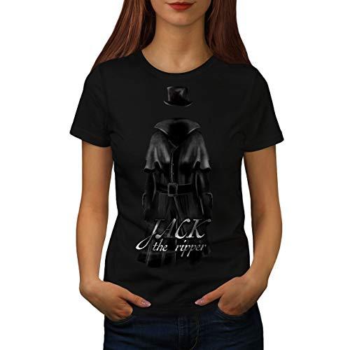 Damen Ripper The Jack Kostüm - wellcoda Jack Ripper Killer Frau T-Shirt Tod Lässiges Design Bedrucktes T-Shirt
